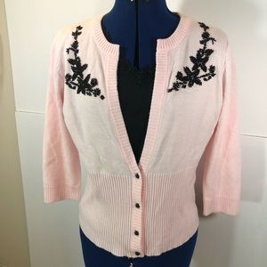 RQT | pink Beaded Cardigan sweater